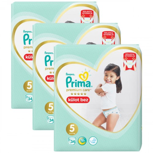 Prima Külot Bebek Bezi Premium Care 5 Beden 34 lü x 3 Adet