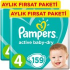 Prima Pampers Bebek Bezi Aktif Bebek Aylık Maxi 4 No 159 lu x 2 Adet