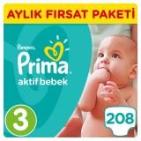Prima Pampers Bebek Bezi Aktif Bebek Aylık Paket Midi 3 No 208 li