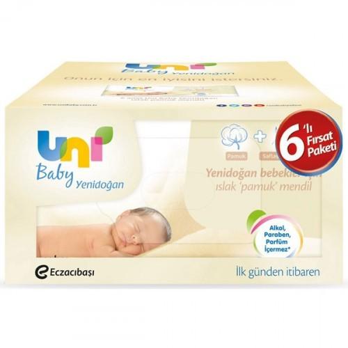 Uni Baby Yenidoğan Islak Pamuk Mendil 6 lı (240 Yaprak)